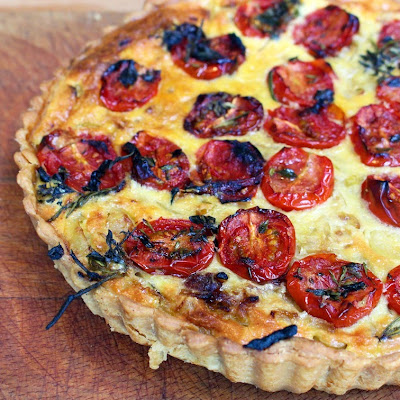 Caramelised Onion, Polenta And Oven-roasted Tomato Tart