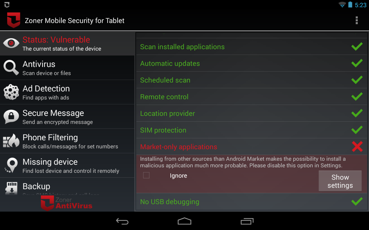 Zoner Mobile Security - Tablet Screenshot 5