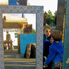 Don't I know you? by Tyrell Heaton - Babies & Children Children Candids ( mirror, washington, reflection, d.c., eastern market )