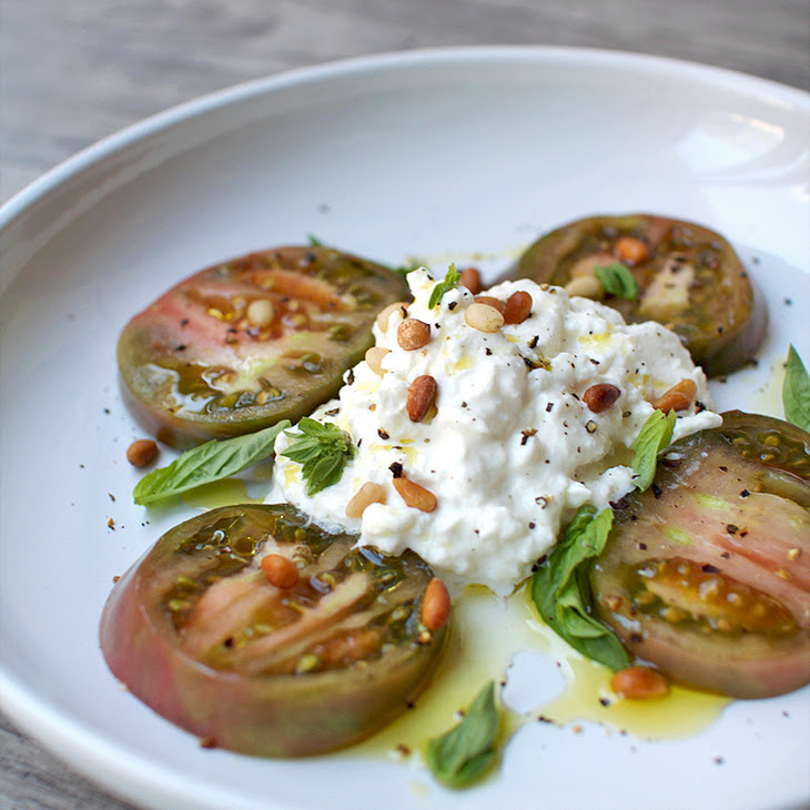 Heirloom Tomato and Burrata Caprese Salad Recipe | Yummly