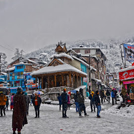 Season's first Snow-Fall in Manali by Manabendra Dey - City,  Street & Park  Street Scenes ( snowfall, snow, street, season's first snowfall, manali, manali in winter )