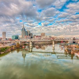 Nashville Reflections by Devin Williams - City,  Street & Park  Skylines ( tn, skyline, music city, cumberland river, country music, nashville, reflections, downtown )