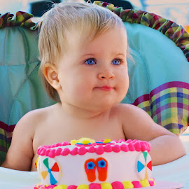 Blue Eye Birthday. by Larry Bodinson - Babies & Children Child Portraits ( blue eyed baby, girl with blue eyes, blue eyes, birthday baby, baby,  )