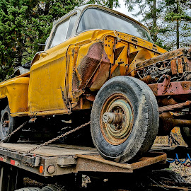 Hauled Away by Barbara Brock - Artistic Objects Industrial Objects ( decaying trucks, wrecked trucks, trucks on a tow )