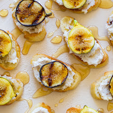 Grilled Fig, Hazelnut and Ricotta Crostinis