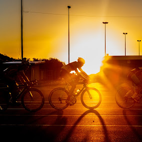sunny sunset by Joshua Nicholson - Sports & Fitness Cycling ( cycle, bike, racing, sunset, sydney dragway, bicycle )
