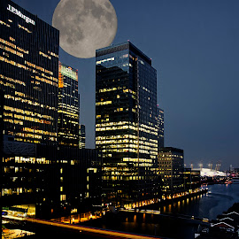 Canary Wharf at night by Andrew Robinson - Buildings & Architecture Office Buildings & Hotels ( o2, london, canary wharf, docklands, moonlight )