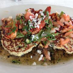 Camarones a la parrilla! Grilled shrimp, corn masa cakes, guacamole, pico de gallo, and tomatillo sa