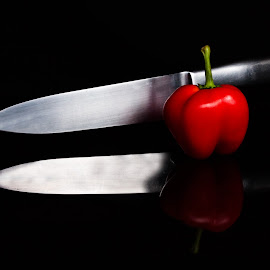 Master Chef by Daryl Visser - Food & Drink Fruits & Vegetables ( red, food, art, table top, knife,  )