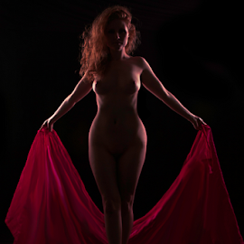Red on Red by Marie Otero - Nudes & Boudoir Artistic Nude ( model, nude, red, female, low key, boudoir, fine art )