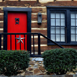 Red Door by Janet Buddington - Buildings & Architecture Other Exteriors ( log home, red door, black trim, entrance )