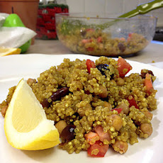 Curried Quinoa with Cherries and Roasted Chickpeas