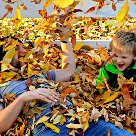 Fall Into Leaves by Blanche Metcalf - People Family ( autumn, family, fall, play, son, leaves, father, color, colorful, nature )