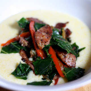 Sautéed Andouille and Greens With Grits