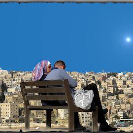 Amman by Francesca Riggio - People Couples ( love, woman, jordan, sun, man, city )
