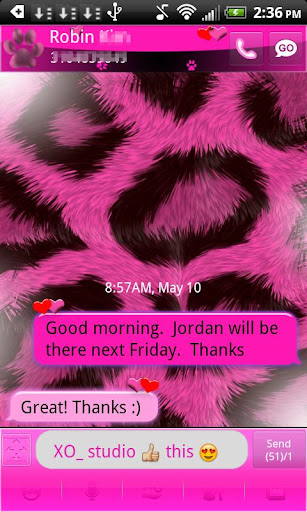 GO SMS Pink Leopard theme 2