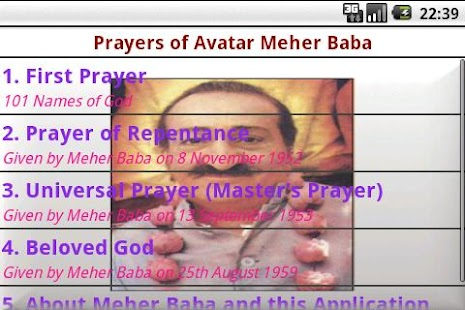 Prayers of Avatar Meher Baba - screenshot