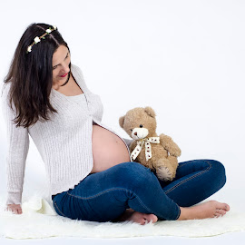 Pregnancy by Dragos Vana - People Maternity ( bear, maternity, toy, pregnancy, baby, belly )