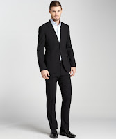 Armani black wool 2 button suit with flat front pants