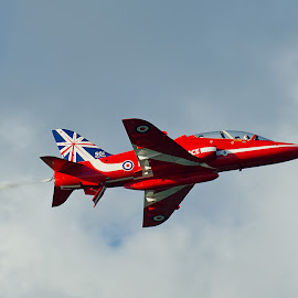 Red Arrow by Pam Sargeant - Transportation Airplanes ( red arrows, red, airplane, display, jet, hawk )