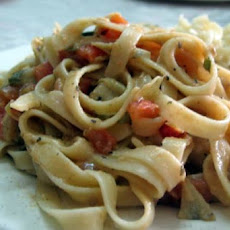 Vegan Artichoke and Tomato Alfredo