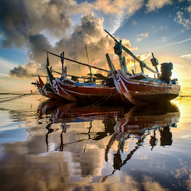 .:: red hot ::. by Setyawan B. Prasodjo - Transportation Boats ( reflection, warm, sun shine, blue hour, sunrise )