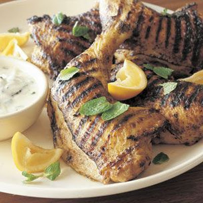Curry-Spiced Grilled Chicken Legs with Raita (Madras Curry)