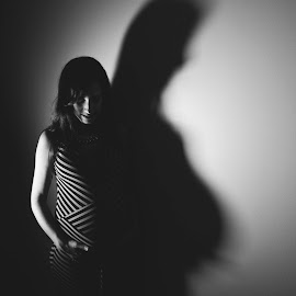 Shadow by Sandra Miyagi - People Maternity ( mother, black and white, shadow, pregnancy, pregnant )