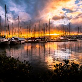 Marina bay sunset by Leah Varney - Landscapes Sunsets & Sunrises ( nature, sunset, landscape,  )