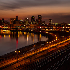 St. Paul from the East by Bill Kuhn - City,  Street & Park  Skylines ( skyline, railroad, reflections, light trails, cityscape, capitol, downtown, st. paul, river, mississippi )