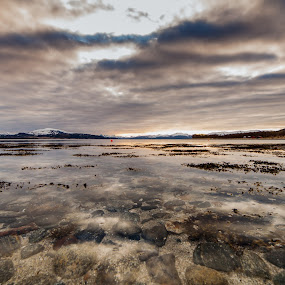 Clouds and sunset by Benny Høynes - Landscapes Sunsets & Sunrises ( clouds, sunset, reflections, sea, lake, norway )