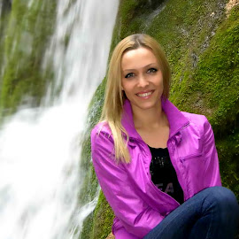 Smile all the time by Slobodan Bobo Kovac - People Portraits of Women ( water, girl, nature, woman, bobo, waterfall, smile, photo, people, portrait )