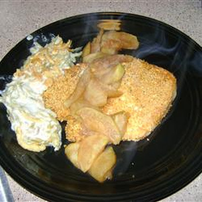 Lemon Pepper Pork Chops Baked and Served With Apples