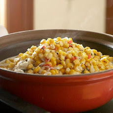 Corn with Chèvre and Red Peppers
