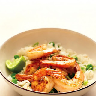Spiced Shrimp with Ginger Rice and Peas