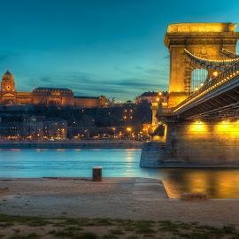 Chain bridge in Budapest at blue hour by Kurt Bogaert - City,  Street & Park  Night ( budapest, blue hour, chain bridge )