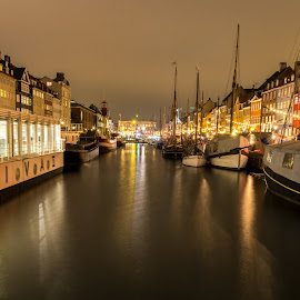 Harbour by Cosmin Stahie - Transportation Boats ( lights, water, copenhagen, scape, nyhavn, boats, night, denmark, city )