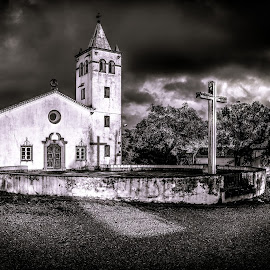 Old church by Ricardo Belela - Buildings & Architecture Places of Worship ( clouds, b&w, church, black and white, panorama, cross )