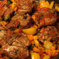 Lamb Chops, Calabrese, With Tomatoes, Peppers and Olives
