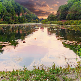 Creswell Crags by Costa Philippou - Landscapes Waterscapes ( sunset, creswell, lake, crag, derbyshire )