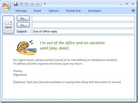 meraTechPort: New templates for out of office messages