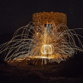 Torre di Abbacurrente by Stefania Loriga - Abstract Light Painting ( sardinia, night, torre, light, painting )