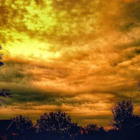 Morning Sky over the Village by Nat Bolfan-Stosic - Uncategorized All Uncategorized ( clouds, orange, sky, village, morning )