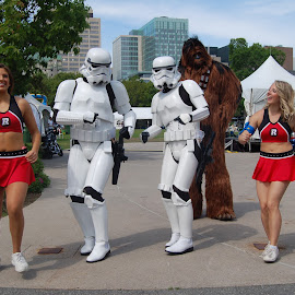 Starwars and Redblack cheerleaders by Debbie Annable Carr - News & Events Entertainment ( redblack cheerleaders, people, starwars )