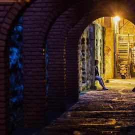 Alley Break by Stephen Bridger - City,  Street & Park  Street Scenes ( person, canada, street, victoria, street scene, dark alley, bc, street photography, british columbia, tunnel, lane, alley )