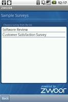 Screenshot of Zwoor Survey