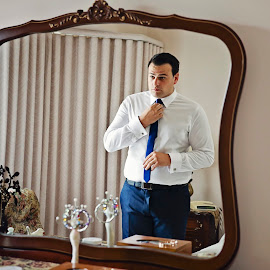 Reflection by Alan Evans - People Portraits of Men ( mirror, melbourne wedding photography, wedding photography, wedding day, wedding, aj photography, mirror reflection, getting ready, gippsland wedding photographer, groom,  )