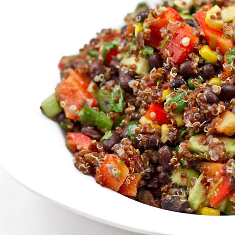Red Quinoa and Black Bean Vegetable Salad