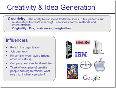 creativity and idea generation