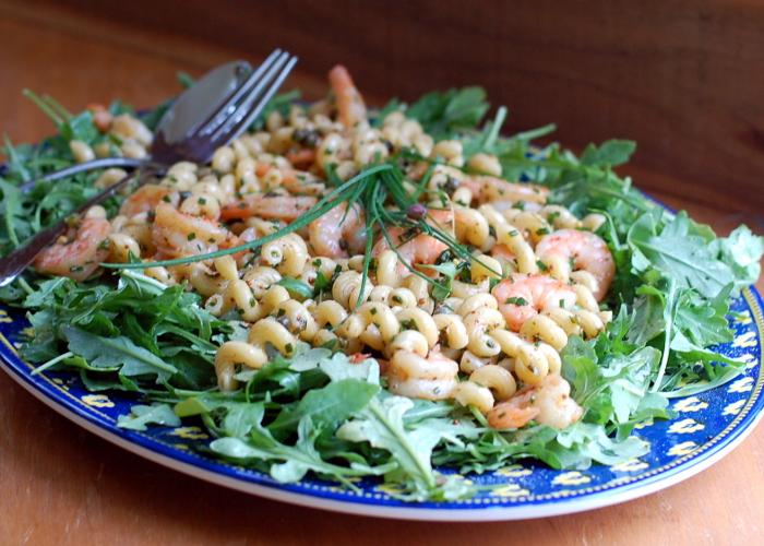 Shrimp Pasta Salad with Arugula Recipe | Yummly